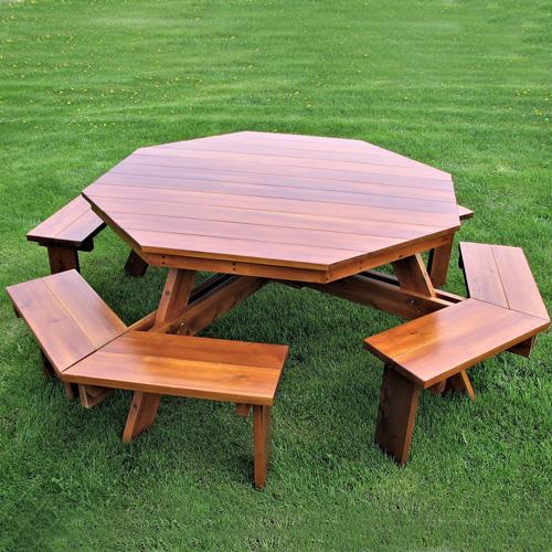 Table de pique-nique Octogonale avec bancs 0404 - Cedtek